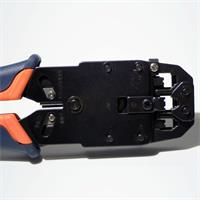 Handcrimpzange mit Kabelschneider und Abisolierer für Flachbandkabel