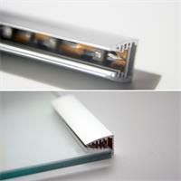 18mm hohes und 7cm langes Glaskantenprofil aus Alu