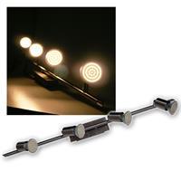 4er LED Leuchte, Edelstahl, 60er SMDs ww, 230V