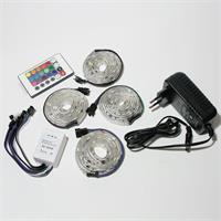 LED Komplettset bestehend aus 4x 1m RGB Streifen, Controller und Netzteil