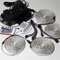 LED Komplettset bestehend aus 4x 2m RGB Streifen, Controller und Netzteil