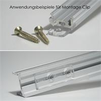 Montage-Clip aus transparentem Kunststoff für Alu- Profile