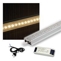 SET 4x50cm LED Alu-Leiste mit Zubehör WARM-WEISS