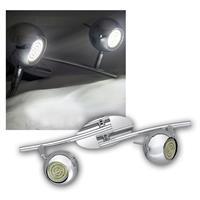 DESIGN LED lamp, 2 light heads, 230V, chrome