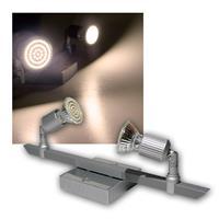 LED Leuchte Montana 2x 60er SMDs ww Alu/Chrom