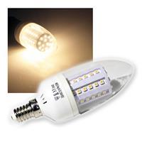 LED-Kerzenlampe E14, 60 SMD LEDs, warmweiß 230V