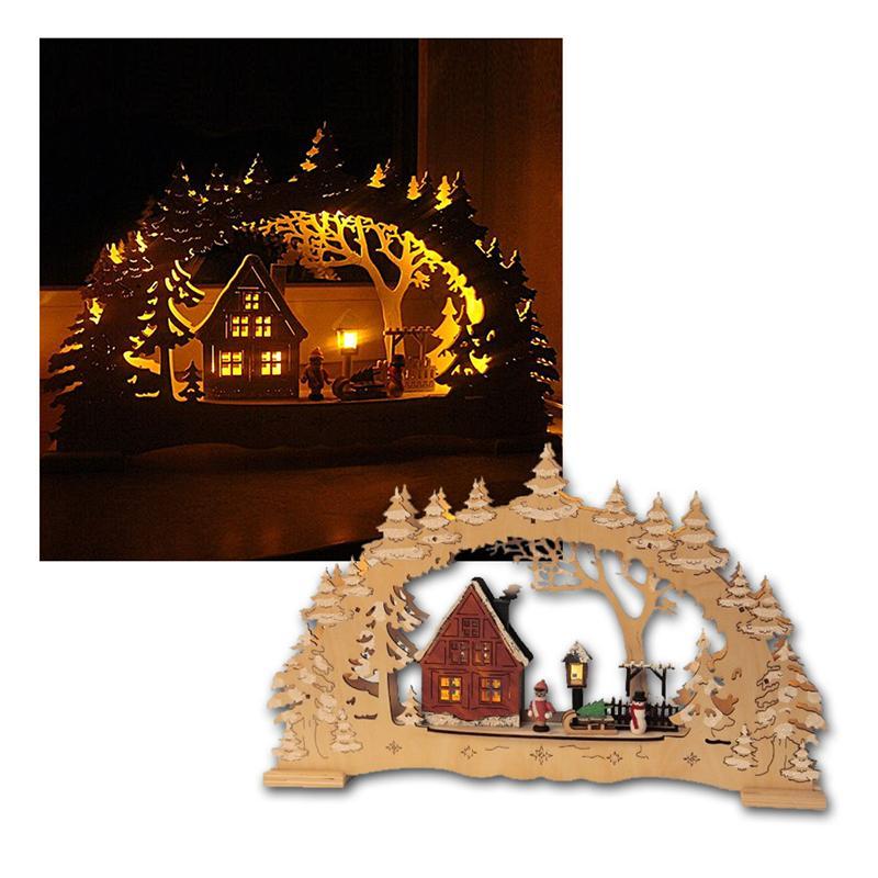 """Lichterbogen """"Village"""" Holz natur, 10 LED warmweiß"""