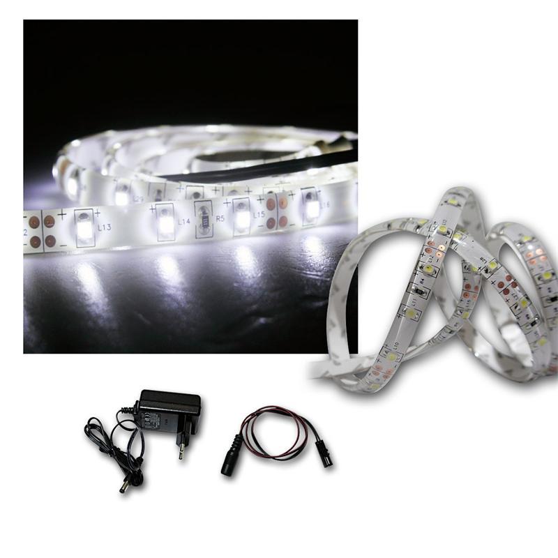 led lichtband set 1m kalt wei trafo smd stripe. Black Bedroom Furniture Sets. Home Design Ideas