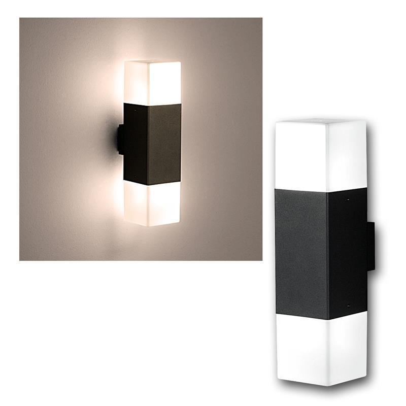 led wandleuchte hudson anthrazit 310lm 2 flammig. Black Bedroom Furniture Sets. Home Design Ideas