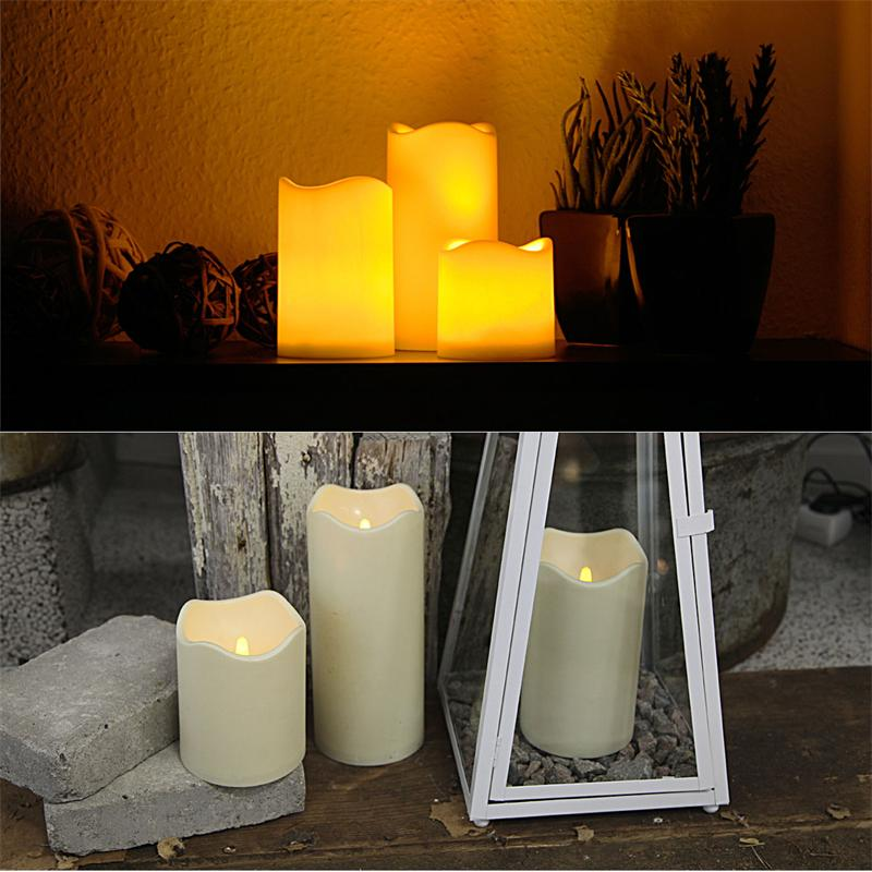 Set of 6 LED candle, with timer, Ø7,5/10cm, for ou
