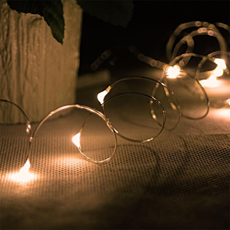 "LED battery light chain ""String"" 12 warm white drops"