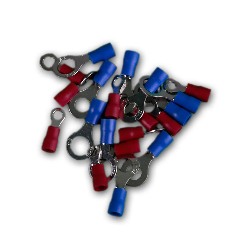 20er Set Ringkabelschuhe isoliert rot & blau