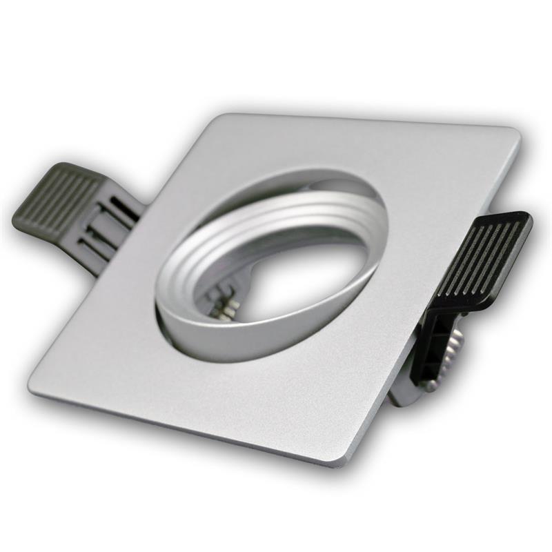 Lampen einbaurahmen mr16 eckig silber click in for Lampen click