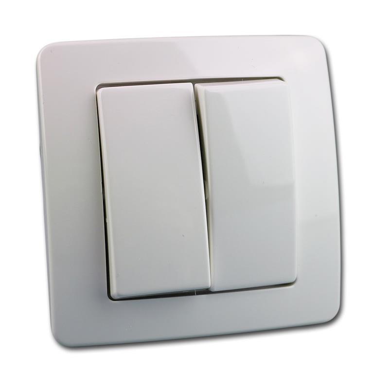 EKONOMIK Doppel-Wechsel-Schalter, weiß, 250V~/10A