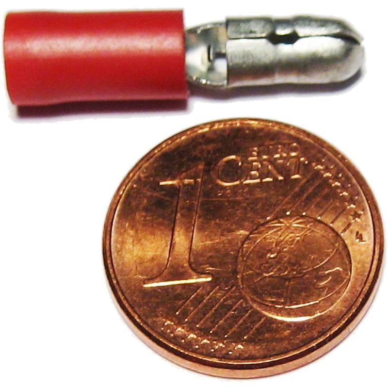 10 x Rundstecker rot für Kabel 0,5-1,5mm²