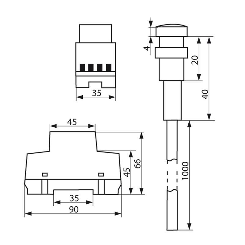 Dämmerungsschalter, Schalttafel-Einbau, IP65, 230V