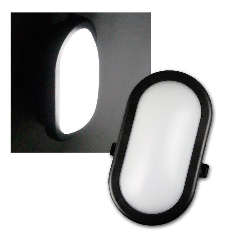 led oval feuchtraum leuchte schwarz 230v 10w 700lm. Black Bedroom Furniture Sets. Home Design Ideas