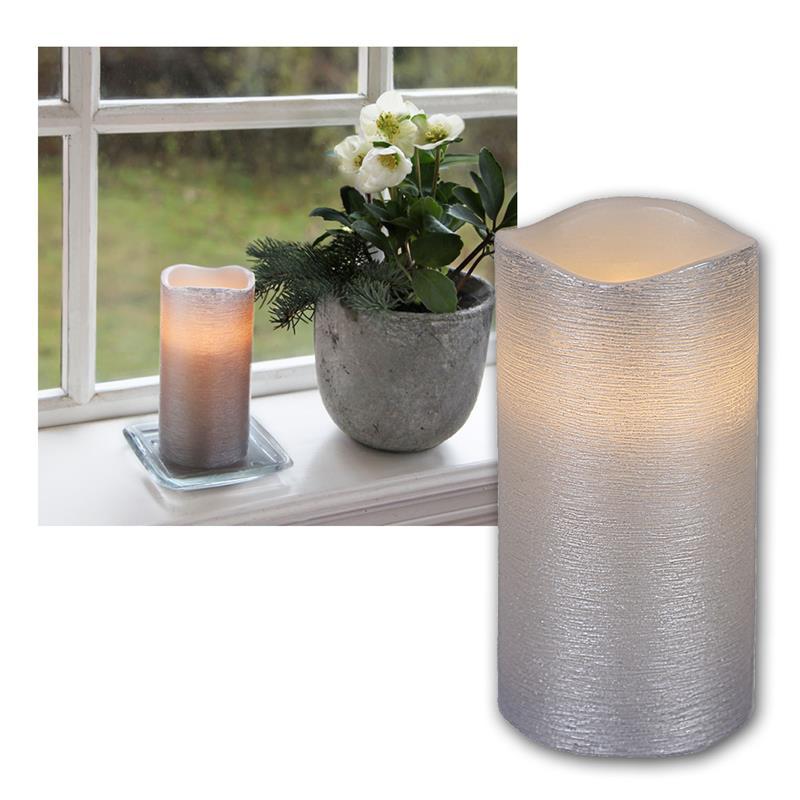 led wachskerze silber 15 x 7 5cm linda mit timer. Black Bedroom Furniture Sets. Home Design Ideas