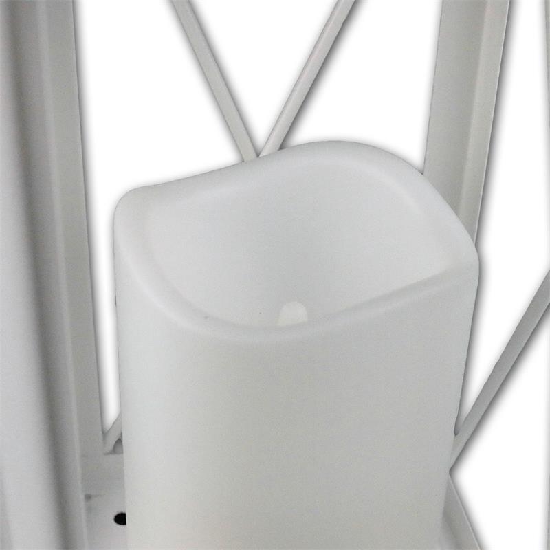laterne wei mit led kerze timer 32cm f r au en. Black Bedroom Furniture Sets. Home Design Ideas