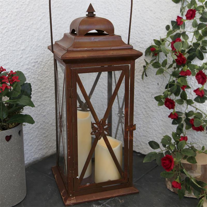 Laterne Kupfer Rost Mit 2 Led Kerzen Timer 50cm