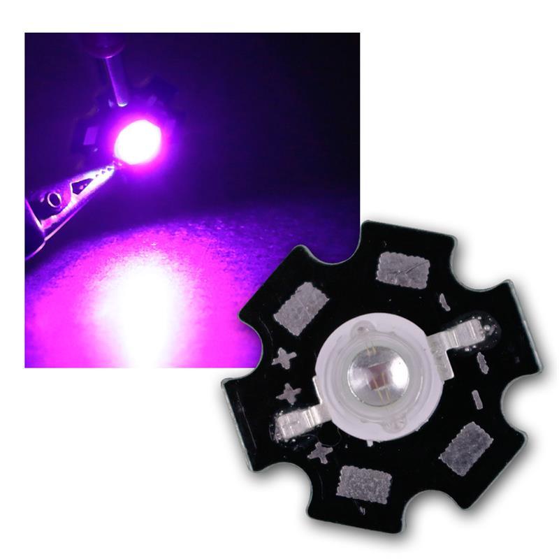 1 high power LED 3W, uv, on PCB