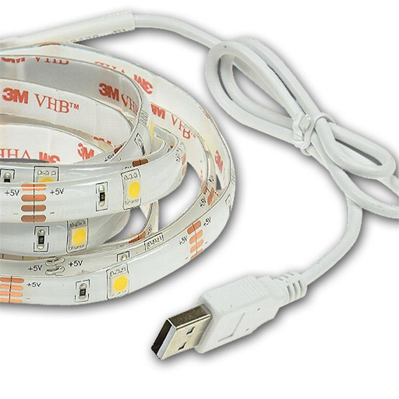 USB LED Stripe warmweiß, 2m, 500lm Lichtband PC/TV