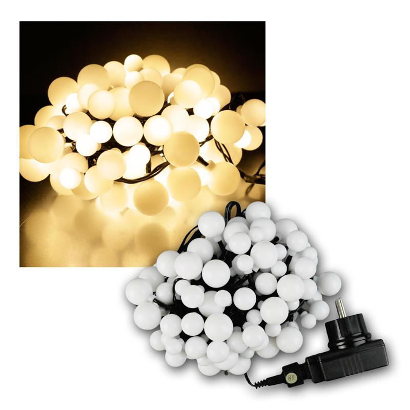 led lichterkette 120 kugeln warmwei ip44 9m. Black Bedroom Furniture Sets. Home Design Ideas