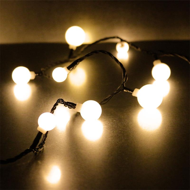 LED Lichterkette für Außen Party Lichterkette warmweiß mit 10 LED Kugelform