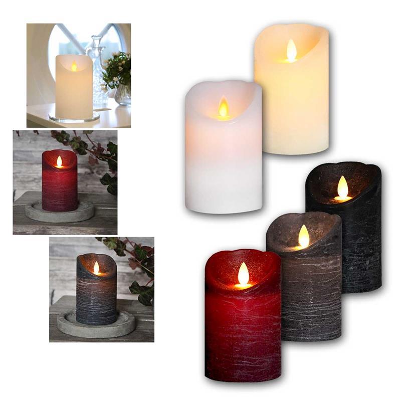 led echtwachskerze flackernde flamme timer 5 farben. Black Bedroom Furniture Sets. Home Design Ideas