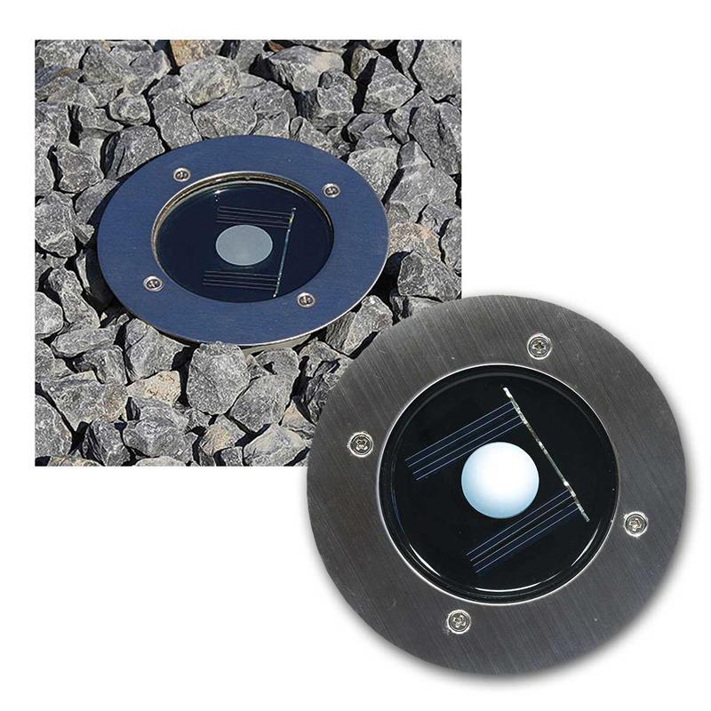 LED Edelstahl Solar Bodenstrahler rund oder eckig IP44 trittfest Wegbeleuchtung