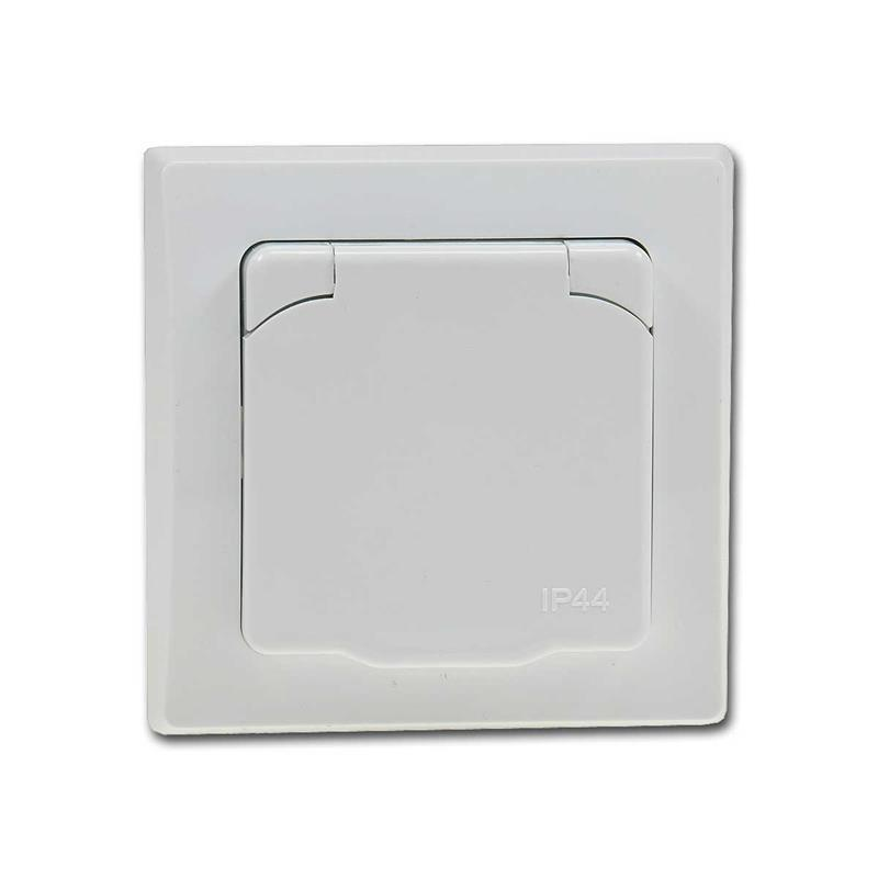 DELPHI socket IP44 with cover 250V/16A UP white