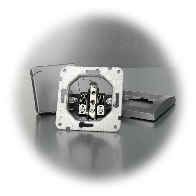 DELPHI Steckdose IP44 Deckel 250V~// 16A UP silber