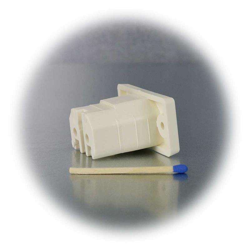 Heißgeräte Einbau Buchse Einbaustecker Weiss 230V10A VDE Schraubanschluss