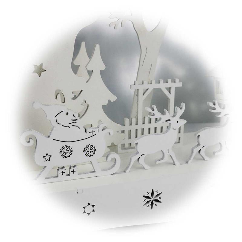 LED Leuchter Schneehausen | Holz weiß | Batteriebetrieb