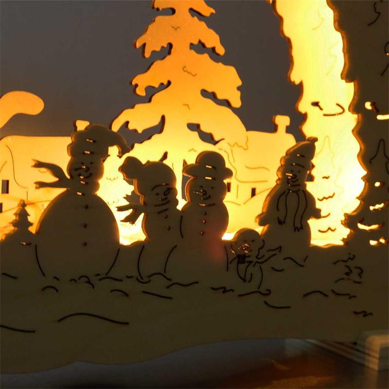 LED Leuchter Erding | Holz natur | Batteriebetrieb