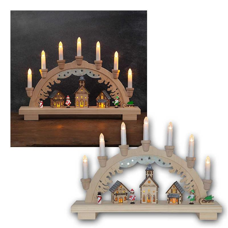 LED candle arch DASSEL | wood | battery & power supply