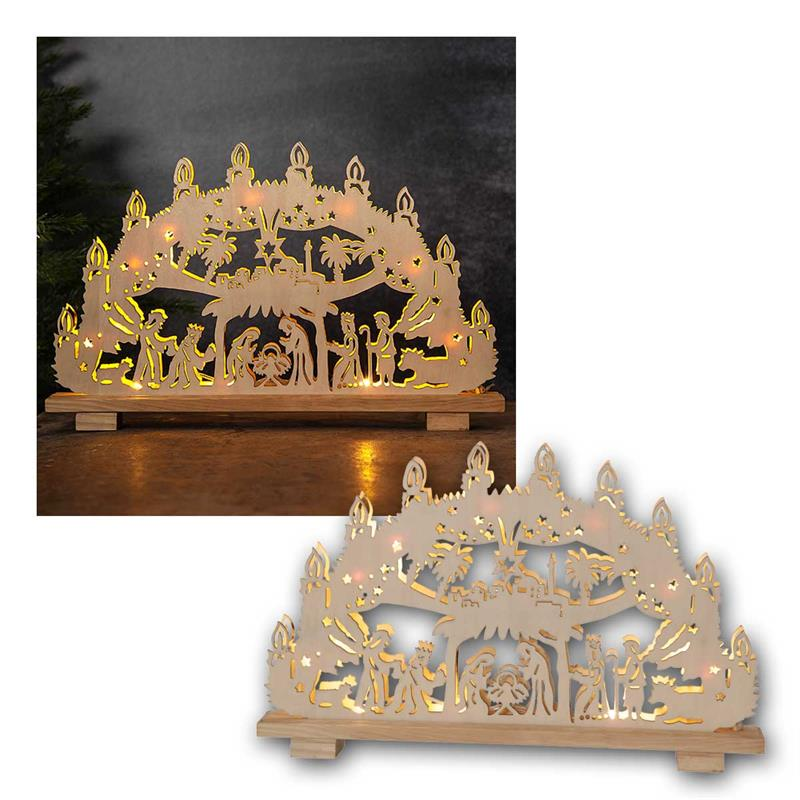 LED candle arch HILDEN | Wood nature | power supply