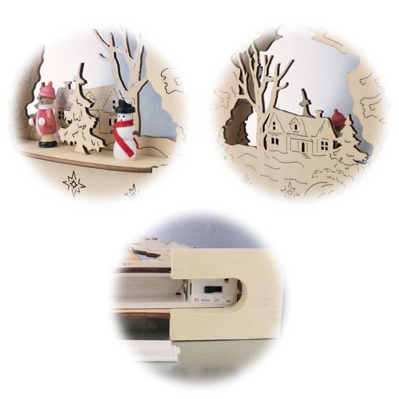 LED window light BAUMGARTEN | nature/white wood | battery