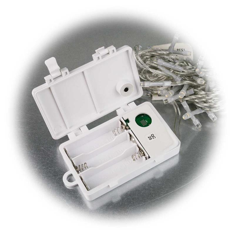 led lichterkette 2 8m batterie timer transparent ip44. Black Bedroom Furniture Sets. Home Design Ideas