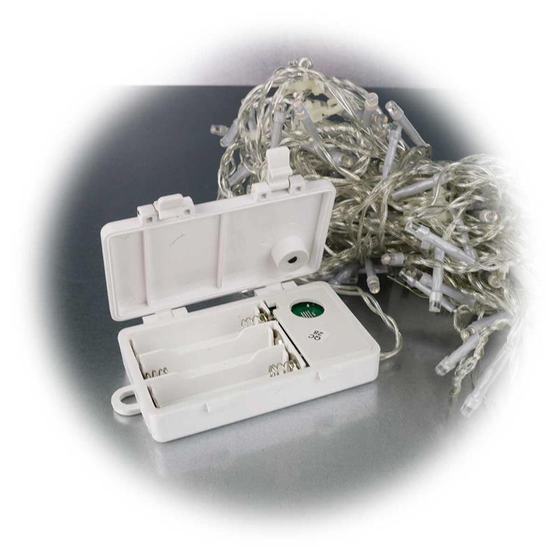 lichterkette eisregen 120 leds batterie timer transparent. Black Bedroom Furniture Sets. Home Design Ideas