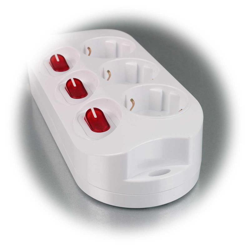 Table socket 3-fold, white | with single circuit | IP20