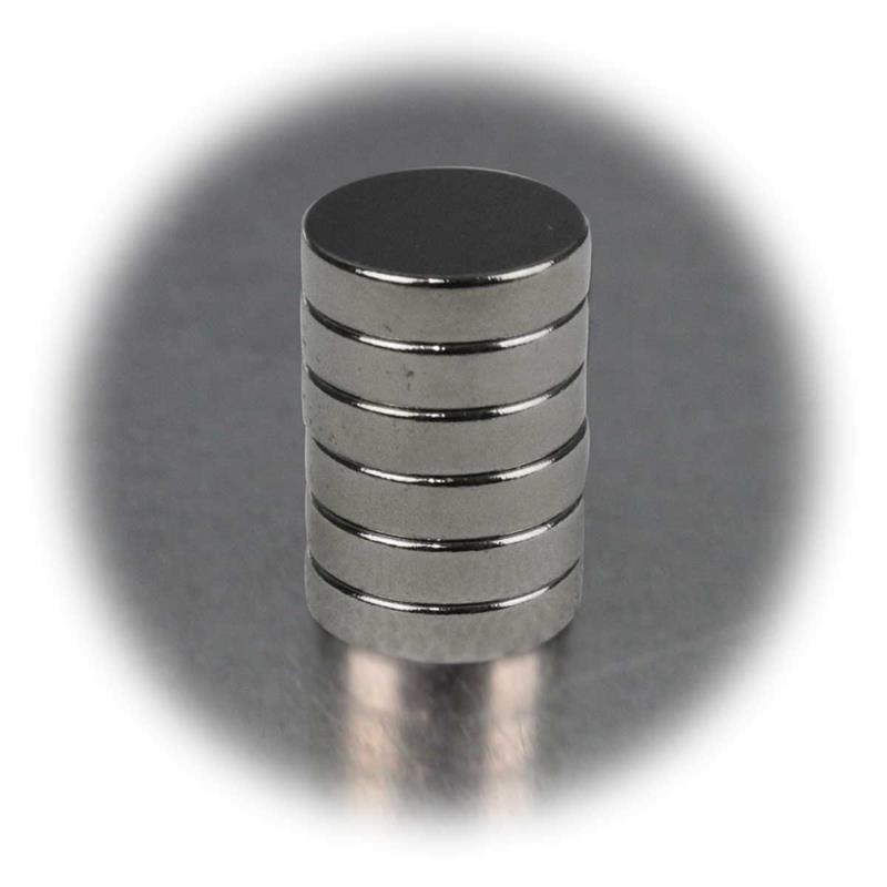 Set of 6 neodymiummagnets | 12x3mm | disc | very strong