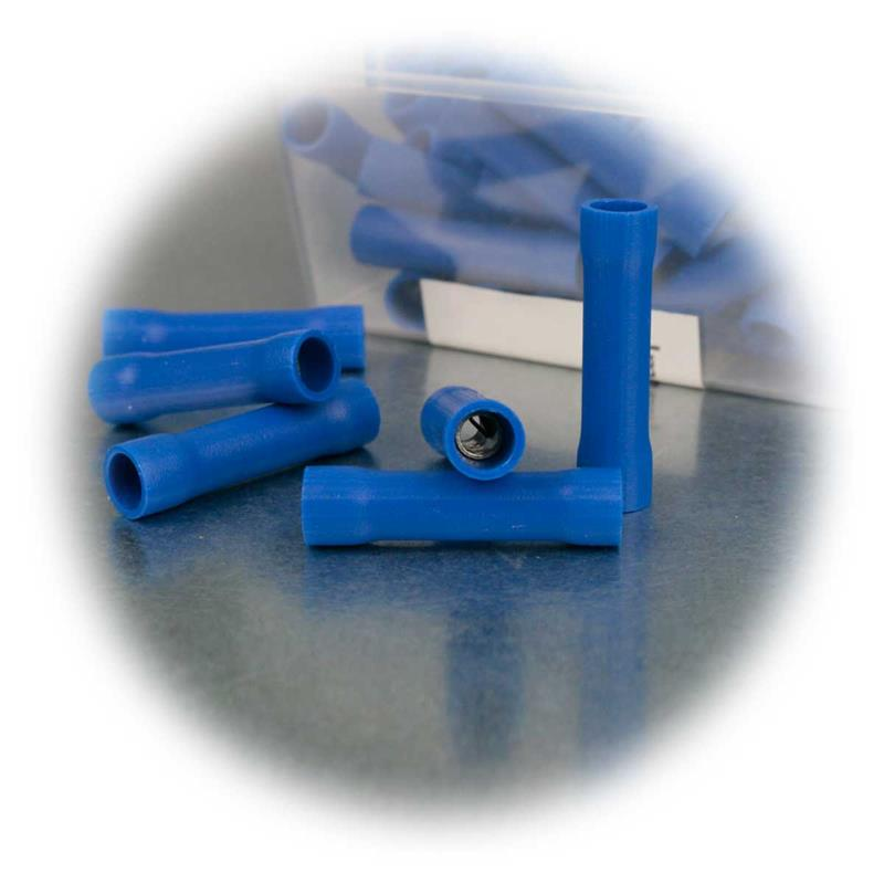 Stoßverbinder 50er Box | Kunststoffummantelung rot/blau