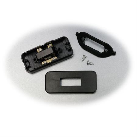 Zwischenschalter schwarz 2-polig 6A 2 Zugentlastungen 1 N Klemme Schnurschalter