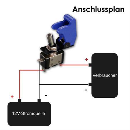 Kill Switch Carbon mit Kappe Kfz Kippschalter 12V Schalter weisse LED 20A NOS