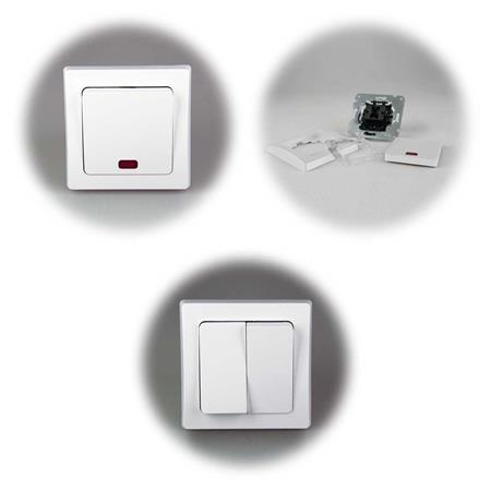 """DELPHI Sets /""""Tür/"""" silber unterputz Schutzkontakt-Steckdose mit Schalter o Dimmer"""