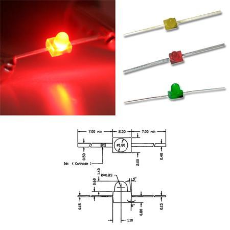 LED 1,8mm Div Mod Type /& Colours Clear /& Diffuse Miniature Mini Leds Leds