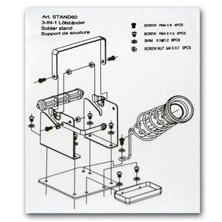 Abrollvorrichtung mit Lötkolbenständer und Schwamm