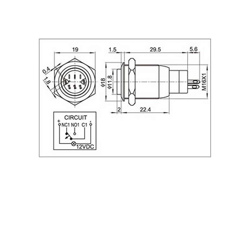 Metal push button Ø16mm | white point lighting | IP67 | 3A