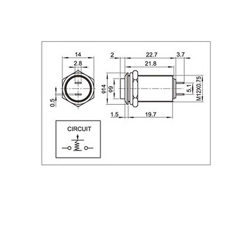 Metal push button | flat | 1-pole | 2 contacts | 2A | 12mm